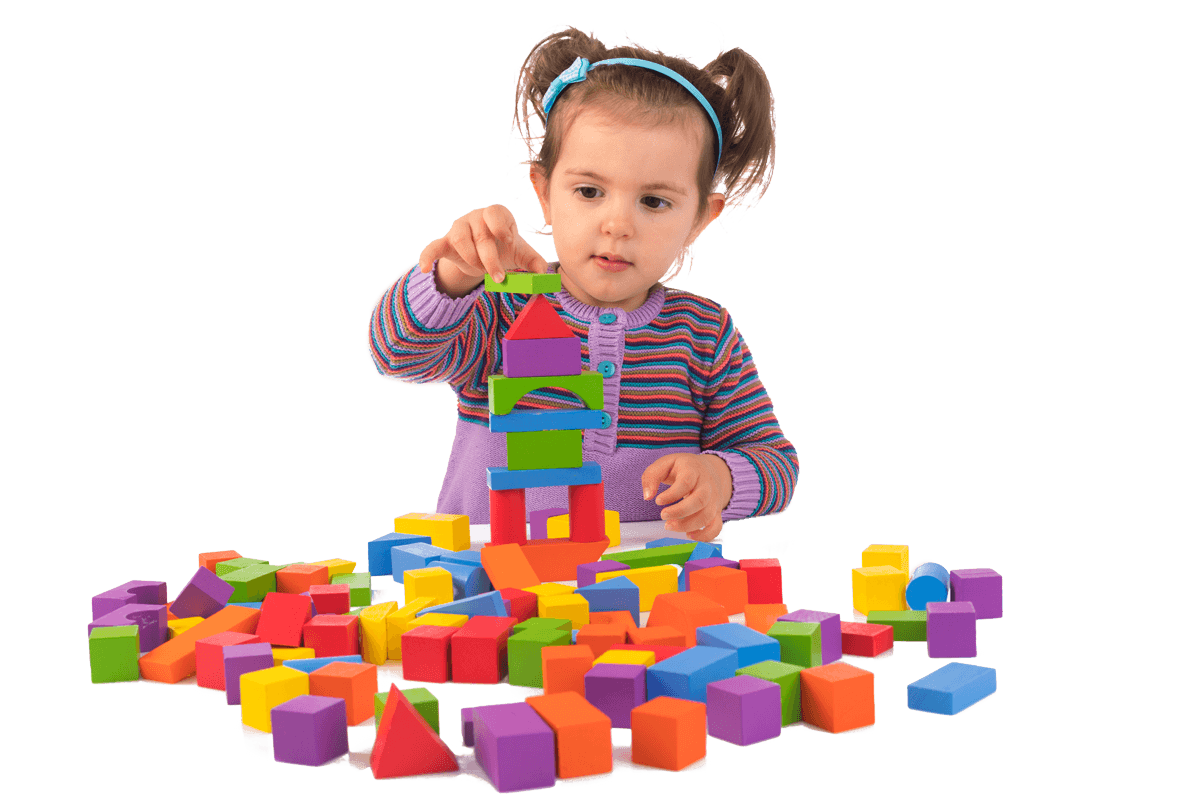 Child playing with colourful blocks