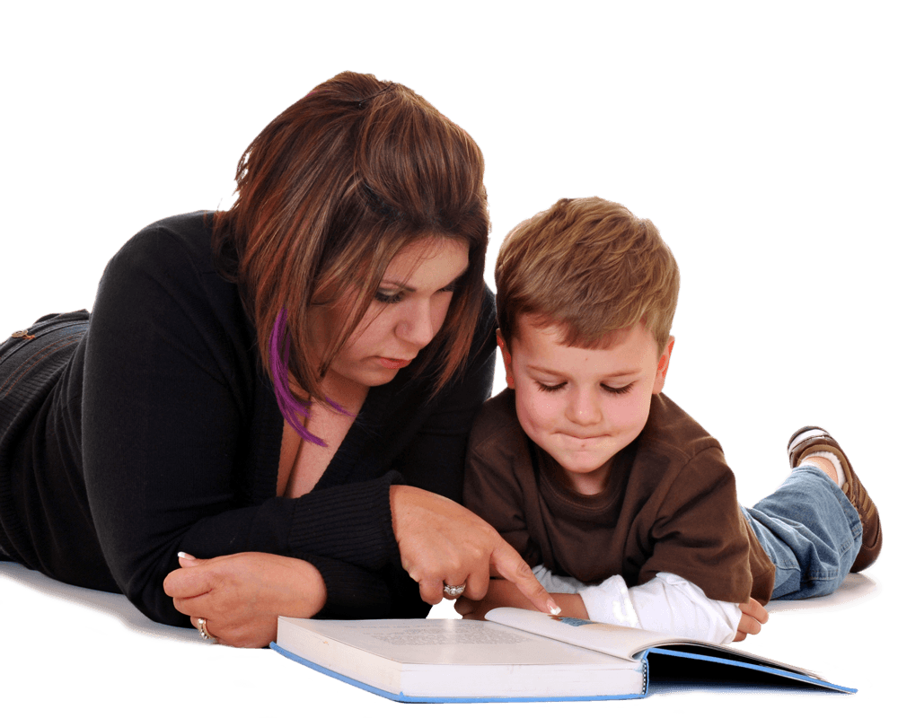 Teacher helping child with reading